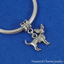 Silver CHIHUAHUA Dangle Bead CHARM fits EUROPEAN Bracelet *NEW*