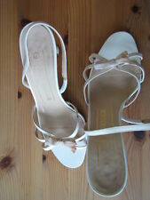 Kurt Geiger White Slingback Heels with Small Bow Detail S: