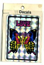 vtg prismatic sticker LOVE butterfly hippie child retro novelty van VANNER biker