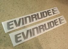 Evinrude Outboard Vintage Decal Die-Cut Silver 2-PAK FREE SHIP + FREE Fish Decal