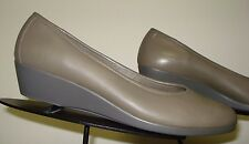 Women's ROCKPORT Gray Leather Comfort Shoe Loafer Wedge Sz. 11 M MINTY!