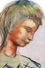 BEAUTIFUL JOSEF PRESSER GOUACHE PASTEL PAINTING OF A YOUNG GIRL