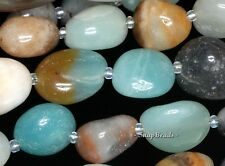 AMAZONITE GEMSTONE GRADE A BLUE BROWN PEBBLE 8X11MM-12X16MM LOOSE BEADS 15.5""