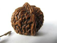 SUPERB WALNUT SHELL CHINESE SNUFF BOTTLE CARVED WITH 18 LUOHANS STUNNING