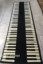 "2x8  Runner Rug  Modern Piano Design Keyboard Music Time   Size 2'x7'2""  New"