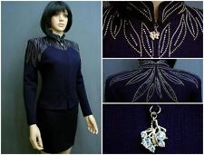 STUNNING ST.JOHN EVENING KNIT NAVY BLUE SUIT,2PC.JACKET SKIRT,BEADED,SZ 4,CHIC!