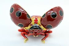 Bejeweled Alloy Enamel Ladybug Trinket Box with Rhinestones