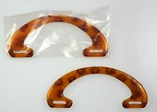 Lucite Plastic Purse Handle 6-1/8-in x 2 3/4 U-shaped Caramel Honey 6 PC LOT