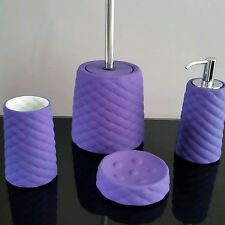 Four piece violet ceramic bathroom accessory set