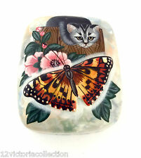 Cat and Butterfly Russian Hand Painted Mother of Pearl LACQUER BOX Art Work