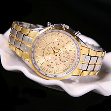 Men's Luxury Date Gold Dial Stainless Steel Analog Quartz Business Wrist Watches