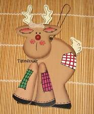 "Wood Cut Out Sign Country Primitive 3D Red Nose Reindeer 8.5"" x 4"" Holiday"