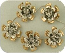 2 Hole Beads Flower Floral Garden ~ Silver & Gold Plated Metal ~ 2 Level ~ QTY 5