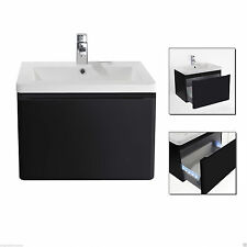 600mm LED WALL HUNG BLACK GLOSS FINISH BATHROOM BASIN SINK CABINET VANITY UNIT