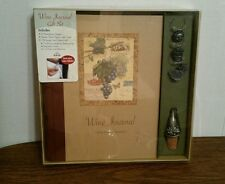 Wine Journal Gift Set with Wineglass Charms and Pewter Wine Stopper with Chain