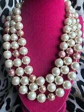 Betsey Johnson Vintage Rosebud Rose Pink Extra Long Pearl Strand Necklace RARE