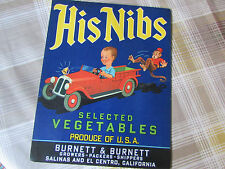Lovely His Nibs Boy in Car & Monkey Image Selected Vegetables Produce USA Label
