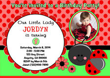 LITTLE LADYBUG CUSTOM ANY AGE 1ST BIRTHDAY PARTY INVITATION & TY CARD U-PRINT