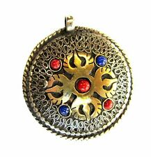 Tibetan Buddhist Copper Brass Filigree Vajra OM Two Sided Mantra Pendant