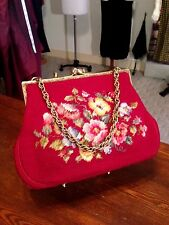Antique Vintage Petit-Point Purse Bag Handbag Needlework Petit-Point