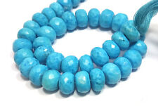 "natural indian turquoise 6-8mm rondelle faceted loose beads 8"" strand"