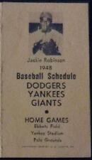 1948 Baseball Schedule New York and Brooklyn Jackie Robinson ROOKIE 1947