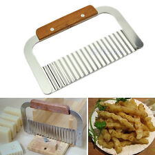 Stainless Steel Potato Chip Dough Vegetable Crinkle Wavy Cutter Tool Blade New
