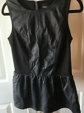 Monsoon Black Faux Leather And Fabric Peplum Top 10