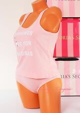 NWT Victoria's Secret Cozy Pajama Set Sleep Tank Wide Straps w Panty S Pink VS
