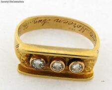 Antique Art Nouveau 18k Yellow Gold Mens Three Diamond Ring