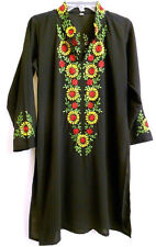 Vintage 1960s Hippie Ethnic Black Dress Embroider Sun Flower 3/4 Sleeve 38 S -XS