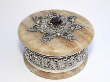 ANTIQUE 19TH CENTURY AUSTRIAN JEWELED SOLID SILVER MOUNTED ARAGONITE BOX c1880