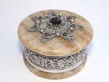 Antiguo Siglo Xix Austríaco Con Piedras Preciosas Plata Maciza montado Aragonita Caja C1880