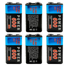 6 pcs 9V 9 Volt 600mAh Ni-MH Rechargeable Battery for Radio Guitar RC Toy PP3