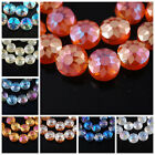 10pcs New Faceted Frost Flying Saucer Glass Crystal Charms Spacer Beads 14X4mm