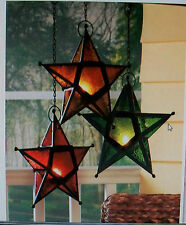 UNIQUE GLASS HANGING STAR  TEA LIGHT CANDLE HOLDER  COUNTRY LANTERN NEW