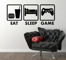Eat Sleep Game Xbox Ps Wii fans Bedroom Decal Wall Sticker Picture Murals, G2