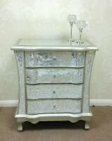 Sparkly Champagne Silver Crackle Mosaic Mirrored Glass 4 Drawer Chest of Drawers