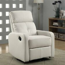 Monarch Leather Swivel Glider Recliner in White