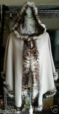 WOMENS BEIGE ANIMAL PRINTS FAUX FUR HOODED WINTER CAPE COAT PONCHO ONE SIZE NEW