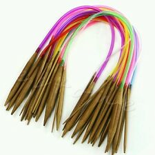 18 Sets 40cm rainbow circular bamboo knitting needles 2mm - 10mm UK seller