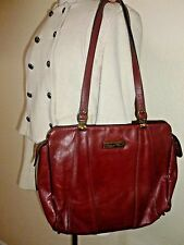 Vintage ETIENNE AIGNER Red Leather Shoulder Carryall Tote Purse Bag Handbag
