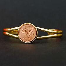 1964 Canada Maple Leaf 1 Cent Gem BU Coin Gold Plated Bracelet  NEW