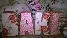SHABBY CHIC BAKE LETTERS MADE USING EMMA BRIDGEWATER ROSE & BEE DESIGN DRESSER