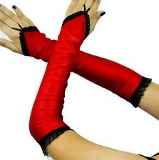 Long Red Satin Fingerless Opera Gloves Gothic Burlesque Lolita Club Cabaret Prom