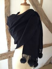 NEW WOOL BLACK SHAWL/ WRAP SCARF WITH FUR POM POM TRIM.