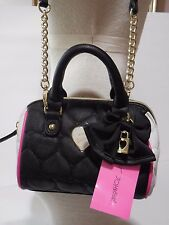 NWT Betsey Johnson Mini Barrel Handbag Purse Bag Crossbody Be Mine Blk/Fuschia