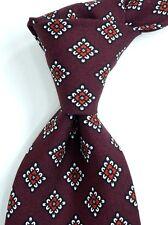 $175 NWT EIDOS Napoli Burgundy Silk Neck Tie w Red & White Diamond Print ITALY