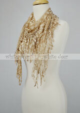 Triangle Lace Scarf Melon Seed Fringe Tassel Floral Leaf Sheer Embroidery