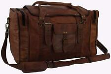"21""x12x10 Mens Vtg Genuine Leather Flap Duffel Carry On Weekender Cabin Gym Bag"